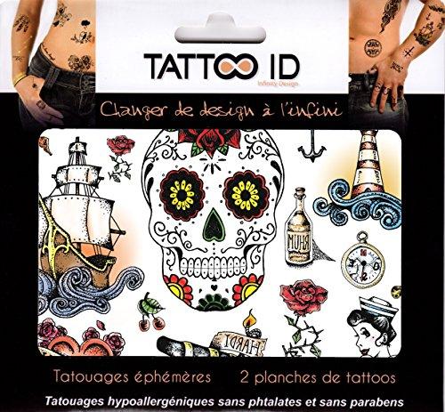 TattooID Old School Vintage-Tattoo-Aufkleber, temporär, hypoallergen, hergestellt in Frankreich, 2identische Bögen, unisex (Hals Vintage Juwel)