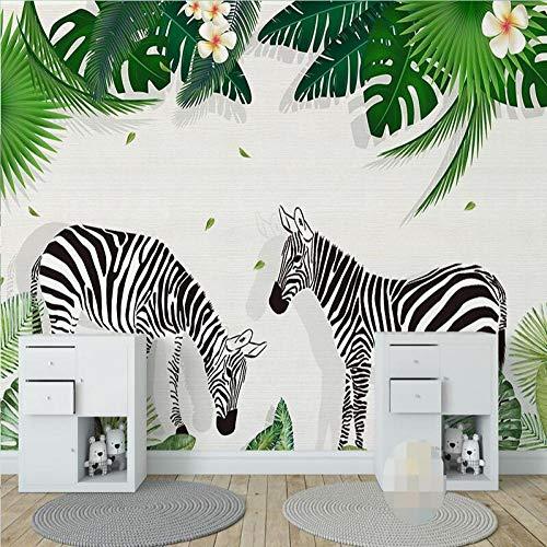 3D Vlies Tapete Personality Künstlerische Malerei 3D Fototapete Für Kinderzimmer Kreative Handgemalte Zebra Green Tree Leaf Kinder Schlafzimmer Dekor Wandaufkleber Wandbild @ 300 * 210 -