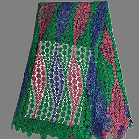 Nueva nuevo venir material del cordón verde + azul + fucsia cordón del bordado de encaje de malla francesa farbic del agua en África soluble para EW1-1 vestido