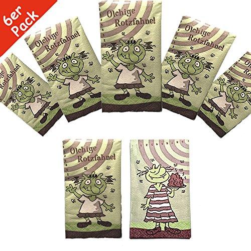 Preisvergleich Produktbild 6-teiliges Taschentücher (Rotzfahnen) Set * DIE OLCHIS * aus Papier // Kindergeburtstag Party Geburtstag Feier Fete Deko Motto Mottoparty Mitgebsel Geschenk