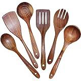 Sonline Lot de 6 ustensiles de cuisine Grooe - Pour vaisselle de cuisine antiadhésive - En bois de teck naturel - Passoire lo