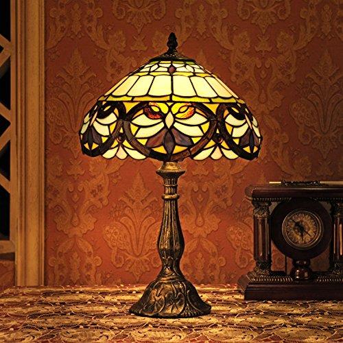Gweat Stained Vintage 12 pollici Tiffany stile europeo Vetro Lost In Viola Serie Lampada da tavolo Lampada da comodino