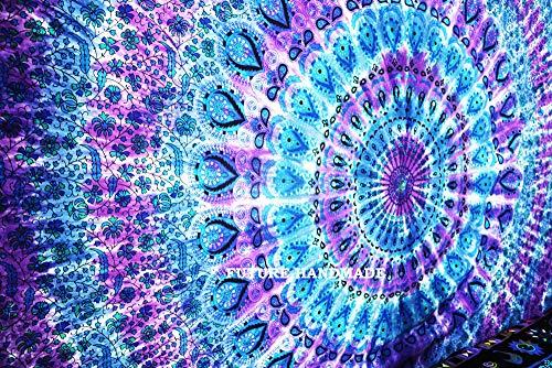 FUTURE HANDMADE Tapiz de Pared Mandala y Luna, Hecho a Mano, para Colgar en la Pared, Mandala, Queen Design 7