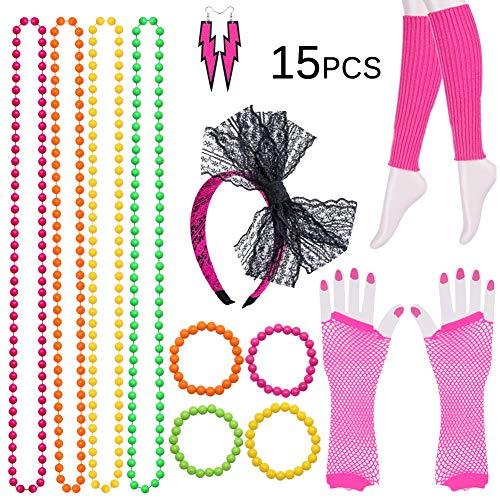 80er Jahre Kostüm für Frauen, 15 Stück Neon Halsketten, Armbänder, Fischnetz Handschuhe, Beinlinge, Lace Bow Stirnband, Neon Ohrringe der 1980er Jahre Party Kostüm Accessoires Set