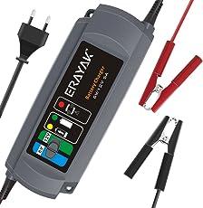 ERAYAK Caricabatterie Automatico per Auto Moto 6V/12V 5A Mantenitore Carica Batteria Mantenitore Multipla Protezione per Auto e Moto, Presa Europea