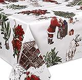 Wachstuch Tischdecke abwaschbar Meterware, Glatt Weihnachten Bescherung Weiß, Größe wählbar (140 x 260 cm)