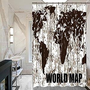 LISABOBO Retro Moldproof Mapa de impresión simple cortinas de ducha cortinas de ducha con cortina de ducha poliéster impermeable(150*180cm , 180*180cm) de secado rápido ( Color : 3 , Tamaño : 150*180 cm )