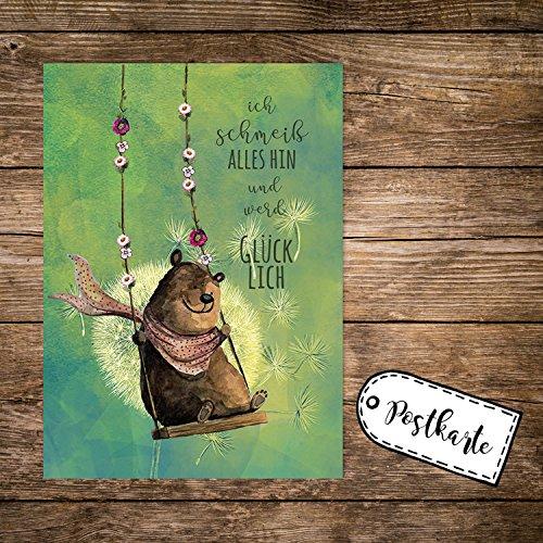 A6 Postkarte Print mit Bär auf Schaukel & Spruch ...ich werde Glücklich pk164 ilka parey wandtattoo-welt® (Glücklichen Welt)