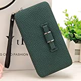 Leather Clutch Wallet, LAPOPNUT Chic Girly Phone Package Handbag with Bow Long Section Clutch Bag Phone Wallets Case with Hand Strap Card Slot for Ladies-Black