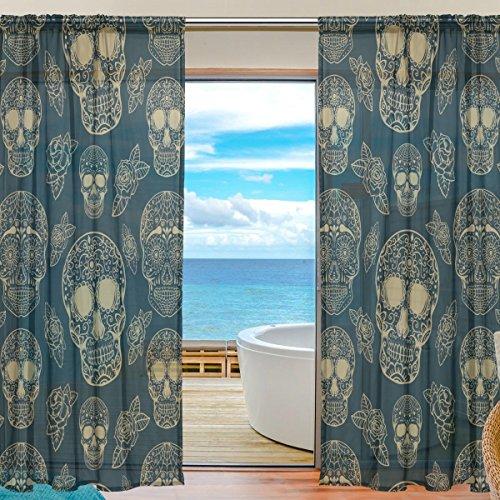 änge, Gardinen Platten Fenster Behandlung Set Voile Drapes Tüll Vorhänge Nahtlose Muster mit Sugar Skulls 213cm lang für Wohnzimmer Schlafzimmer Girl 's Room, 2Platten ()