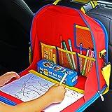 Organiseur pour siège enfants voiture. Plateau de jeux et de dessin, rangement, support Ipad, valisette de jeux