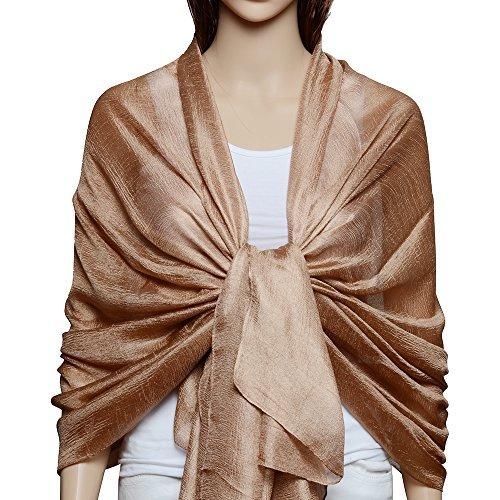 QBSM Chiffon Stola Schal für Brautkleider Abendkleider Alltagskleidung Braun