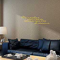wandaufkleber 3d schlafzimmer 34X12 Miracles Happen To Those Who Believe In The Beauty Of Their Dreams Christian Religious Wall Decal Sticker Art Mural Home Dcor Quote For Bedroom Living Room