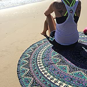 Rawyal Wandbehang / Strandtuch / Tischdecke / Yoga-Matte, rund, mit indischem...