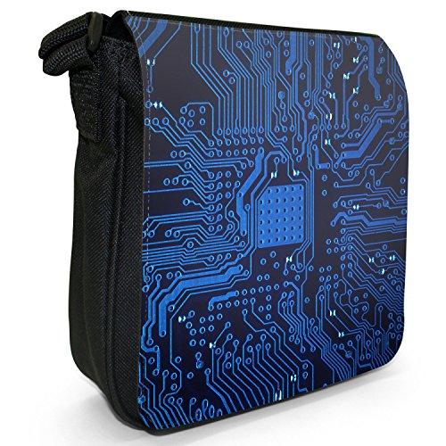 Circuito Motherboard Computer Close Up-Borsa da spalla in tela, piccola, colore: nero, taglia: S Blue Memory Technology Board