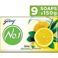 Godrej No.1 Lime & Aloe Vera (150g), Pack of 9 - High TFM (Grade 1 Soap), Long-Lasting Fragrance