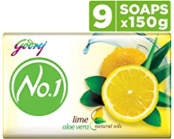 Godrej No.1 Lime & Aloe Vera - High TFM (Grade 1 Soap), Long-Lasting Fragrance (150g), Pack of 9