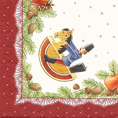 Servietten beige und rot mit Reiterlein und Tannenzweigen, 20 Stück, von DREGENO SEIFFEN – erzgebirgische Weihnachtsdekoration