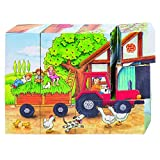 Goki 57839 - Würfelpuzzle - Jahreszeiten auf dem Bauernhof