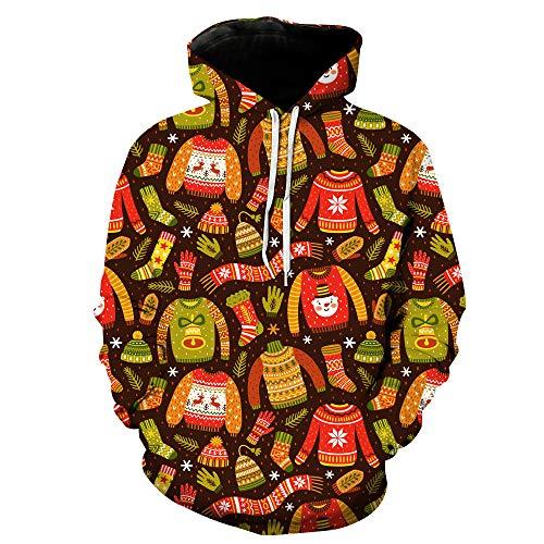 ostüm Weihnachten Digital Print mit Kapuze Tasche Pullover männliche Gezeiten mit Kapuze Herren Bekleidung ()