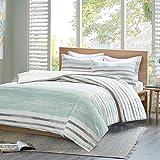 URBAN HABITAT Fluid Stripe Printed Duvet Cover and Pillowcase Set, 100% Breathable Cotton, Trendy Quilt Bedding Set (King, Multi-Grey)