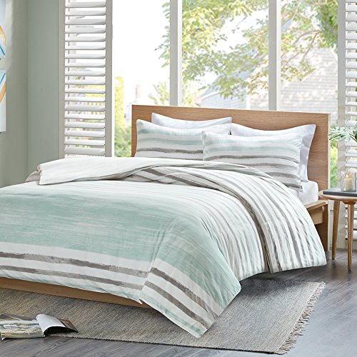 Renforcé Bettwäsche Set Fluid Stripe 3-teilig Aquarell-Look Streifen 100% Baumwolle Bettgarnitur Geometrisch Doppelbett, 200x200+50x75cm (Bio-flanell-bettwäsche)
