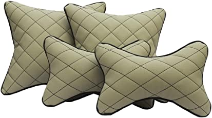 TOUCH Beige & Black Double Quilted Combo set - Car Cushion Set + Car Neck Rests (Set of 4 pieces) UNIVERSAL FOR ALL CARS