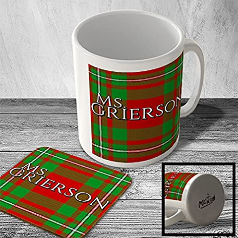 MAC_CLAN_2258 Ms. GRIERSON surname (MacGregor Modern Tartan) (full background) - Scottish Surname Mug and Coaster