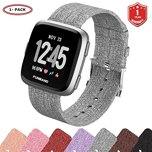FunBand for Fitbit Versa Strap Bands, Woven Fabric Quick Replacement Accessories Breathable Wristbands with Classic Square Stainless Steel Clasp for Fitbit Versa Smartwatch