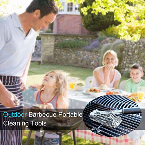 61fVnpJj9NL - BBQ Grillbürste, Bukm 3 Edelstahl Bürsten Profi-Grillbürste 360°Grill Cleaner Brush Perfekt für gewerblichen Einsatz, Outdoor und Camping