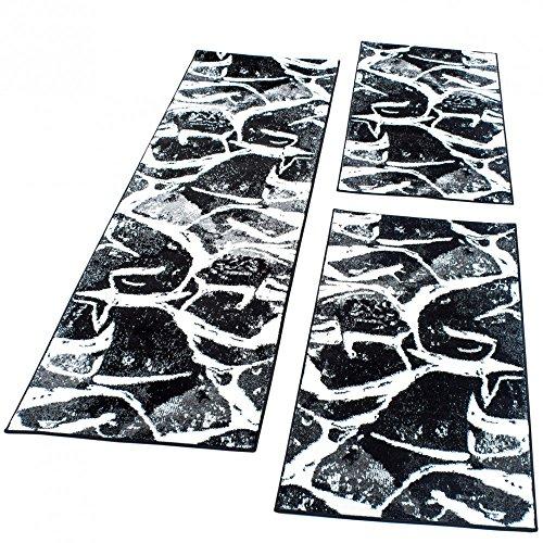 Bettumrandung Läufer Teppich in Schwarz Grau Weiß Meliert Läuferset 3 Tlg., Grösse:2mal 70x140 1mal 70x250