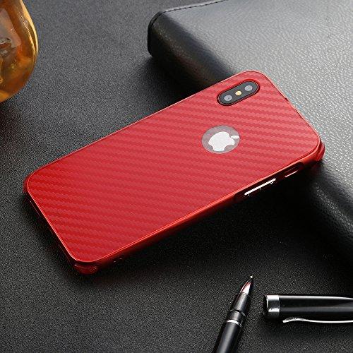 UKDANDANWEI Apple iPhone X Hülle,Ultra Dünn Carbon-Faser Metall Zurück Case Cover mit Hard Bumper Schutz[Kratzfeste Stoßdämpfende] Überzug Aluminium Handy Tasche Schale für Apple iPhone X - Grau Rot