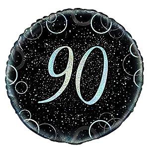Unique Party Globo foil de 90 cumpleaños Color plateado metálico brillante 45 cm 55827