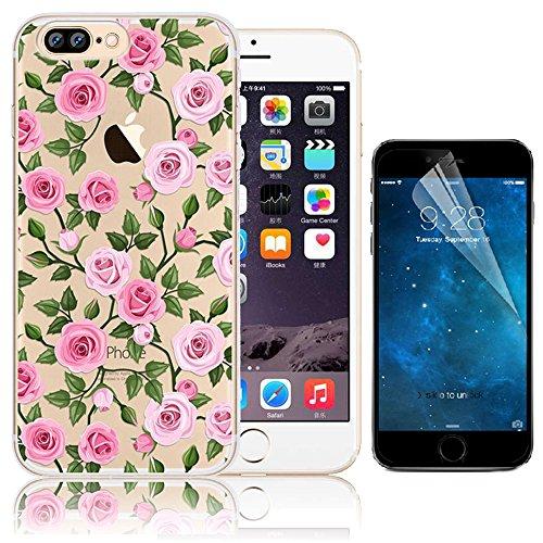 iPhone 7 Plus Custodia (5.5) , Bonice iPhone 7 Plus Cover, Trasparente Morbido Ultra Slim Thin Crystal Clear Cover + 1x Protezione Schermo Screen – Coccinella Model 8