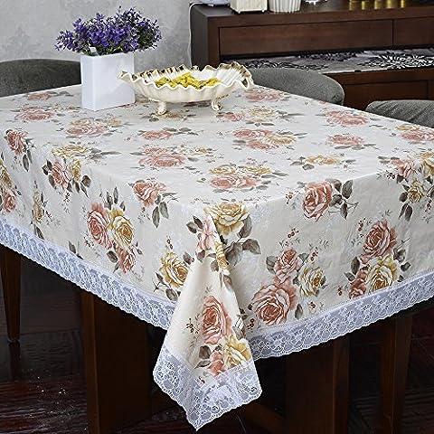 Poliéster Flor vertidos Impreso Mantel Rectangular para mesa mantel de comedor borla., 55-inch by (