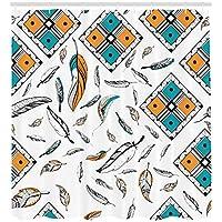 /N Cortina de Ducha Boho Tribal Bohemian Feather Print para baño