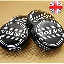 4x VOLVO BLACK ALLOY CENTRE WHEEL CAPS HUB 64 mm