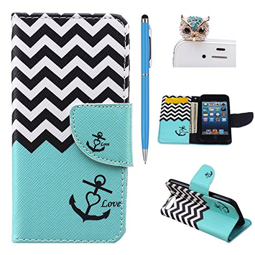 Felfy Apple iPod Touch 5 Slim Full Body Blau Wellig Style Ständer mit Kreditkarte Slots Magnetic Button PU Leder Wallet Case Cover für iPod Touch 5th / 6th Gen Etui Holster Schutz hülle Tasche + 1x Blue Eule Staub Stecker + 1x Hellblau Stylus