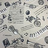 Musical Lino & Negro Tela Para Cortinas Tapicería by Chatham Glyn - 1 Metro