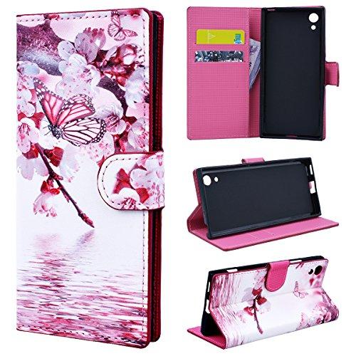 Funda para Sony Xperia XA1 Resistente Libro con Tapa Dibujos Creativo, SmartLegend Sony XA1 Carcasa de Cuero PU Piel y Interior Silicona con Cierre Magnético y Función Soporte Plegable - Mariposa Rosa