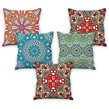 Mandala art pattern printed cushion cover 16x16 set of 5