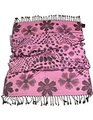 Lovarzi Damen-Schal Getupfter Jacquard - Schöne getupfte Halstuch-Schal-Kombination in geblümter Ausführung - Frauenschals