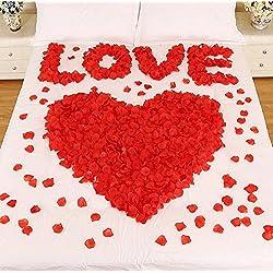 Syoo 1000 x Hojas de rosas artificiales Flores de rosas Confeti, Decoración romántica Accesorios para bodas Fiesta de cumpleaños Fiesta de San Valentín Oferta de matrimonio Propuesta de matrimonio, Rojo