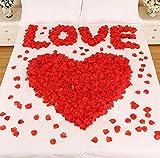 CHSYOO 1000 x Roses artificielles Feuilles Roses Fleurs confettis, Accessoires de décoration Romantique pour la fête d'anniversaire de Mariage fête Rendez-Vous Engagement Nomination Mariage, Rouge