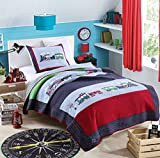 HNNSI Kids Quilt Train Pattern Boys Comforter Set Twin Size 2 Pieces, 100% Comfy Cotton ,Toddler Children Bedspread Bedding Sets for Boys
