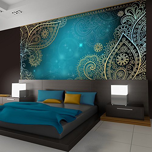 *murando – Fototapete 300×210 cm – Vlies Tapete – Moderne Wanddeko – Design Tapete – Wandtapete – Wand Dekoration – Orient Ornament bokeh grau gold blau türkis f-A-0146-a-b*