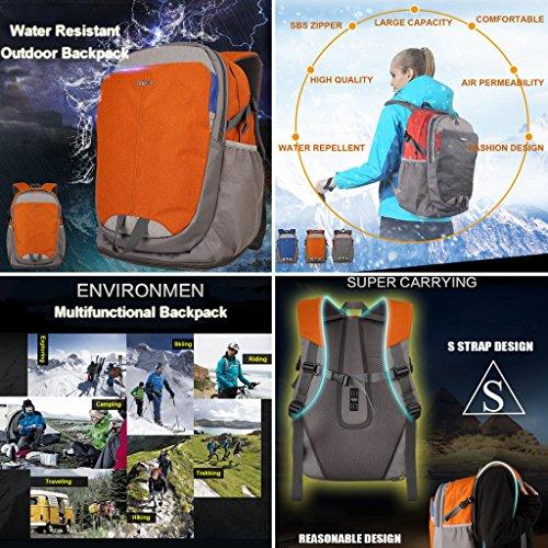 XSY Zaino da Trekking Outdoor Donna e Uomo Zaini Per Alpinismo Arrampicata Viaggi Borsa Grigio Arancione