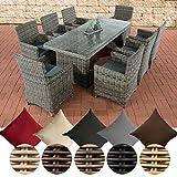 CLP Poly-Rattan Sitzgruppe FONTANA XL (8 Stühle + Tisch 200 x 90 cm), Premiumqualität: 5 mm RUND-Geflecht Bezug: Eisengrau, Rattan Farbe grau-meliert