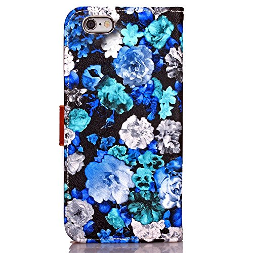 iPhone Case Cover Tusche-Malerei-Blumen-Muster-lederner Fall-horizontaler Schlag-Standplatz-Fall-Abdeckungs-Folio-Mappen-Kasten mit Foto-Rahmen für Apple Iphone 6S ( Color : 4 , Size : Iphone6 6s ) 2