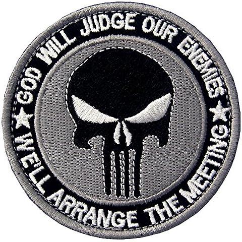 Acu Dios Juzgar¨¢ A Nuestros Enemigos Vamos A Organizar La Reuni¨®n Cr¨¢neo Tactical Bordado Parche De Velcro